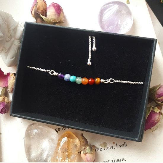Chakra Crystal Silver Slider Bracelet