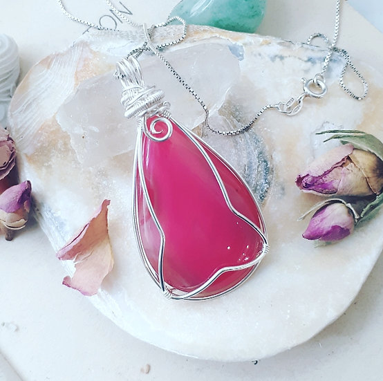 Pink Coloured Agate Pendant
