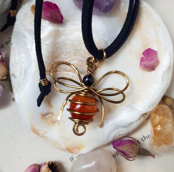 Carnelian Bumble Bee Pendant