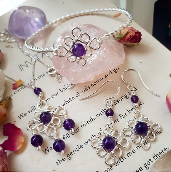 Edwardian Style necklace, bangle and earrings set