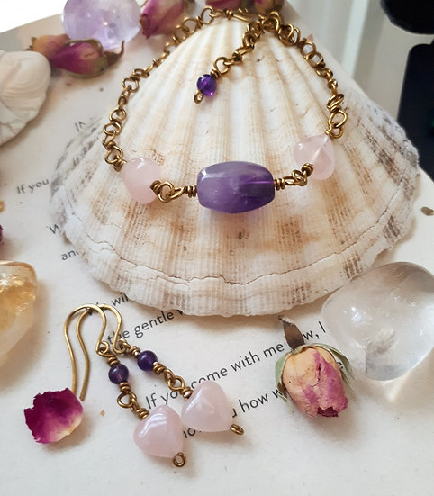 Rose Quartz Hearts with Amethyst Bracelet and Earring set