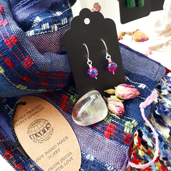 Dark Blue Scarf and Earring Set