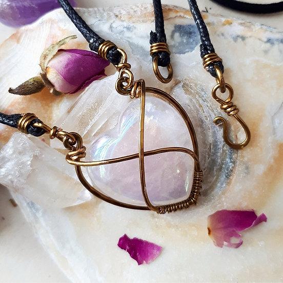 Rose Aura Quartz Heart Pendant