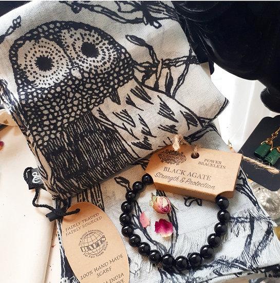 Barn Owl Scarf and Black Agate Set