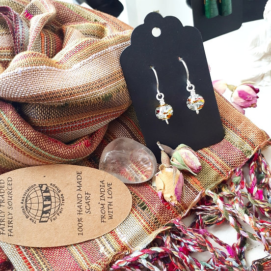 Russet Tone Scarf and Earring Set