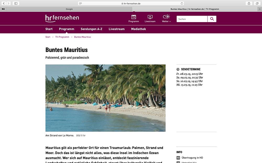 Fernsehbeitrag über Mauritius im HR-Fernsehen