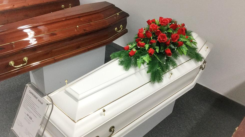 гроб деревянный Саркофаг белый. ручки и закрутки в комплекте