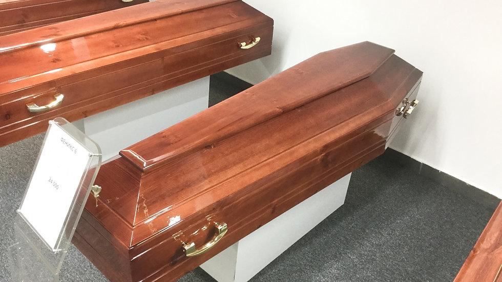гроб деревянный Феникс-6 глянец. ручки и закрутки в комплекте