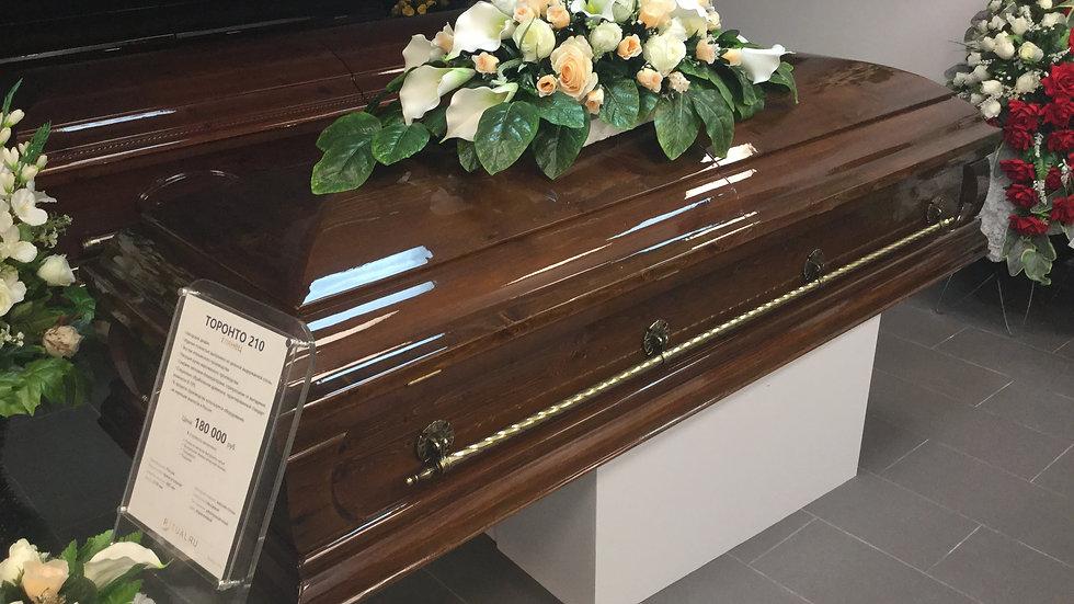 гроб Торонто две крышки, глянец.из выдержанной сосны