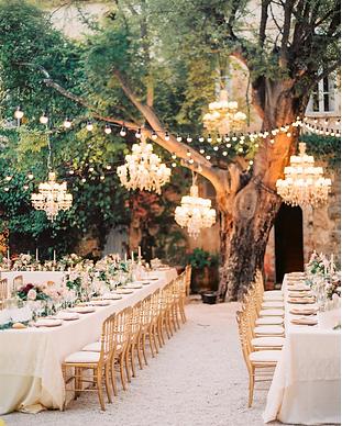 lustres arbres guinguettes diner mariage