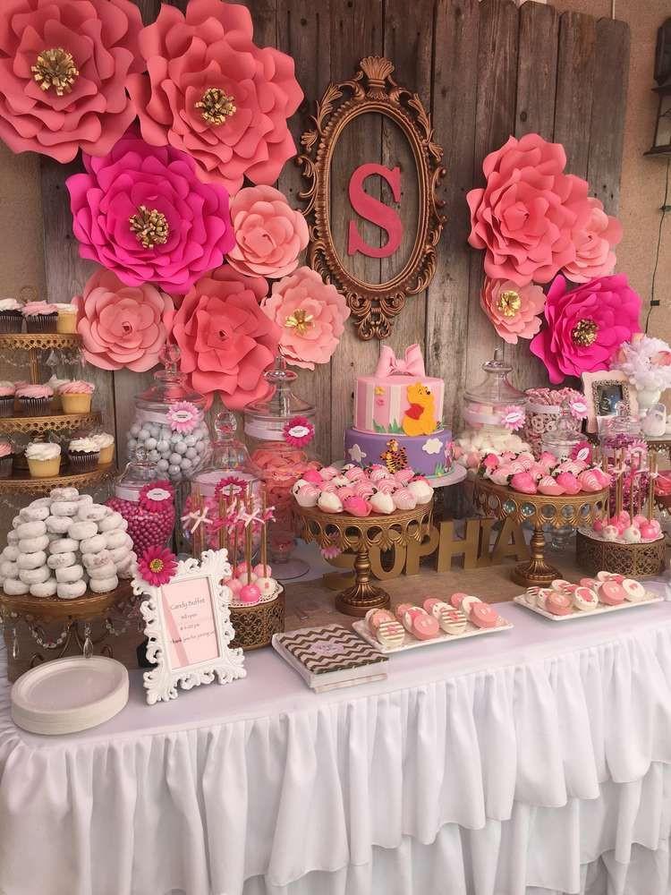 Mur de fleurs roses pour un Candy bar