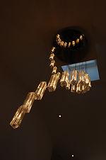 Led light glass chandelier
