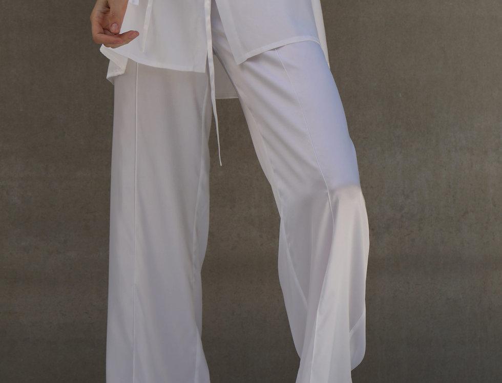 White silk pants