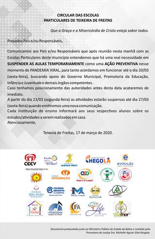 CIRCULAR DAS ESCOLAS PARTICULARES DE TEIXEIRA DE FREITAS