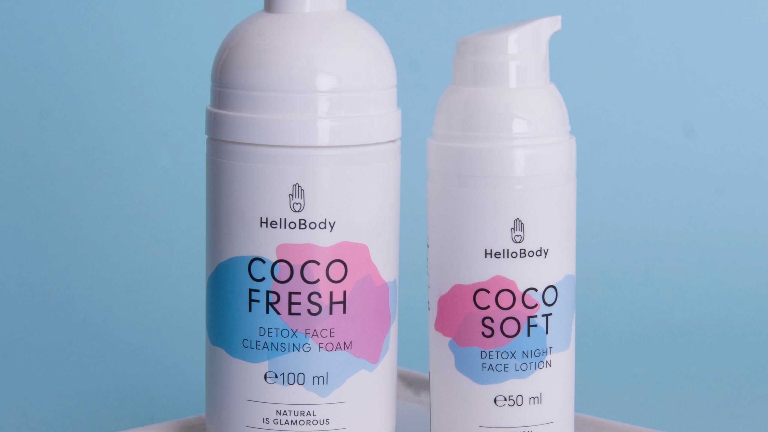 Coco Fresh mousse detergente;  CoCo soft crema idratante notte