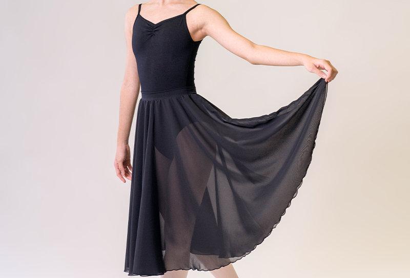 Long Circular Chiffon Skirt - Black