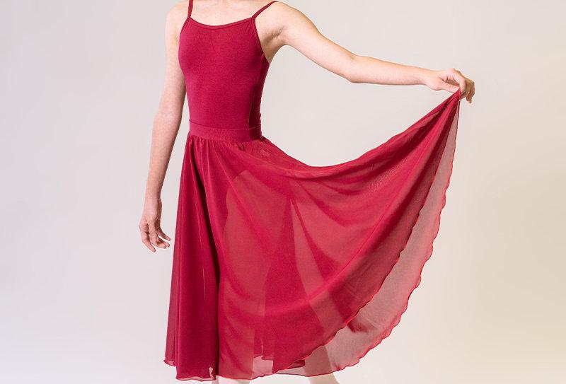 Long Circular Chiffon Skirt - Burgundy