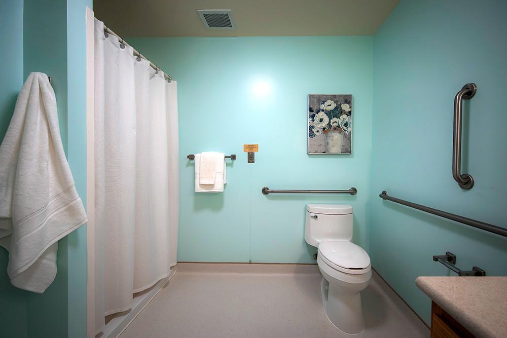 Bathroom of a typical one bedroom apartment at Ridge Oak III