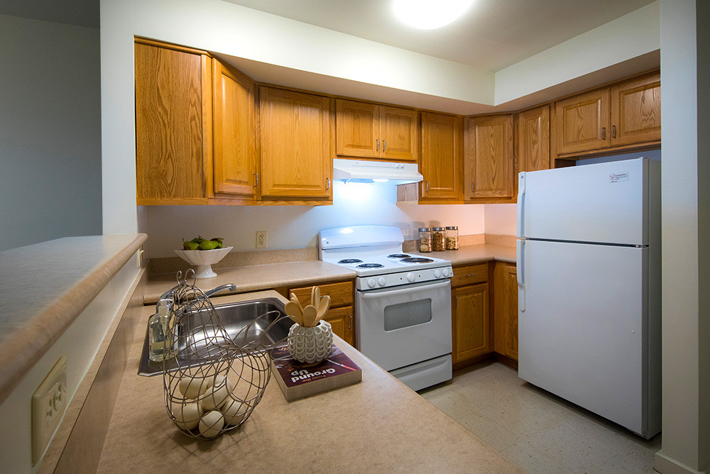 Kitchen of a typical one bedroom apartment at Ridge Oak III