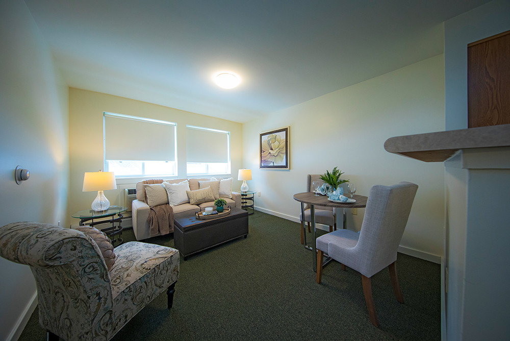 Living room of a typical one bedroom apartment at Ridge Oak III