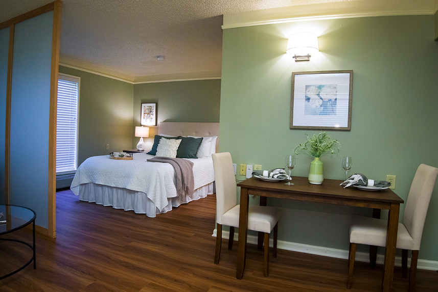 Typical Studio Apartment at Ridge Oak showing the bedroom and eating area