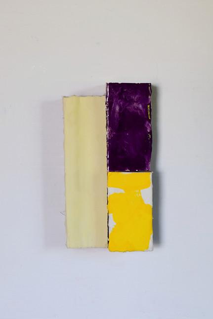 No. 12, offset yellow 2019 Pigments, tempera, Canada balsam, gesso, muslin cloth, wood 21 x 10.5 x 7 cm