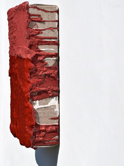 Cave  2018 Mineral pigment, tempera, larch turpentine, gesso & linen on panel 25.2 x 16.3 x 6.6 cm