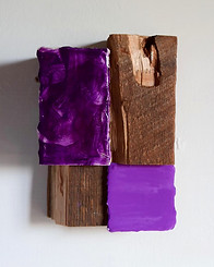 No.1, Manganese Violet 2019 Pigment, larch turpentine, tempera, gesso, fabric, wood, sawdust 16 x 11 x 7 cm