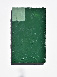 Untitled (terre verte) 2018 Mineral pigment, tempera, larch turpentine, gesso & linen on panel  61 x 38.1 x 6.4 cm