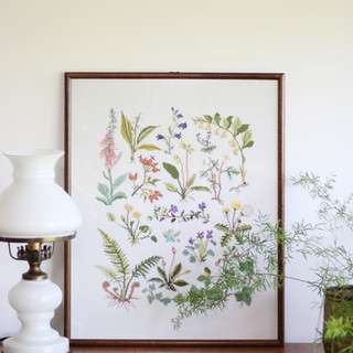 HAND STITCHED WILD SUMMER FLOWER EMBROIDERY IN A FRAME