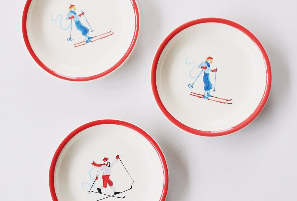 Vintage desert plates with ski ornament drawings set of 3