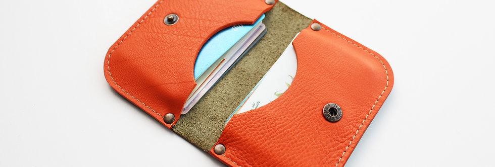 SUNDAY WALLET IN MOSS GREEN AND ORANGE