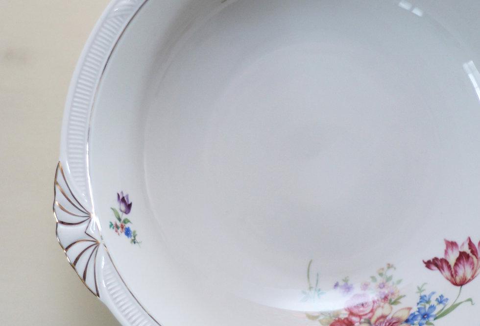 VINTAGE ZEH SCHERZER LARGE DINNER DISH WITH FINE FLOWERS AND GOLD EDGES