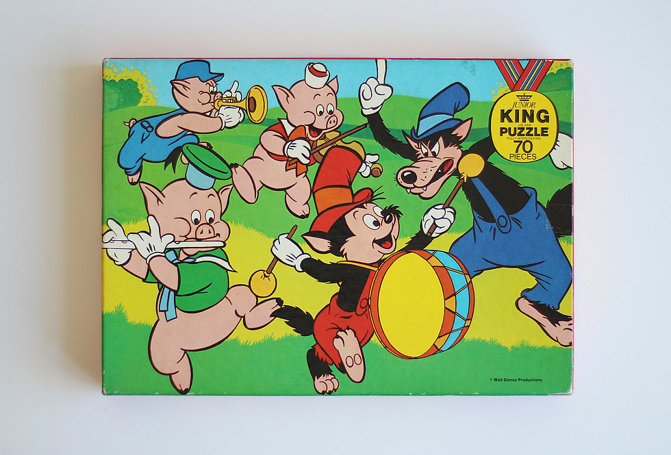 VINTAGE DISNEY THREE LITTLE PIGS JIG-SAW PUZZLE FOR KIDS 70 PIECES