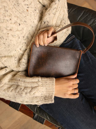 Shelby brown leather mini clutch bag