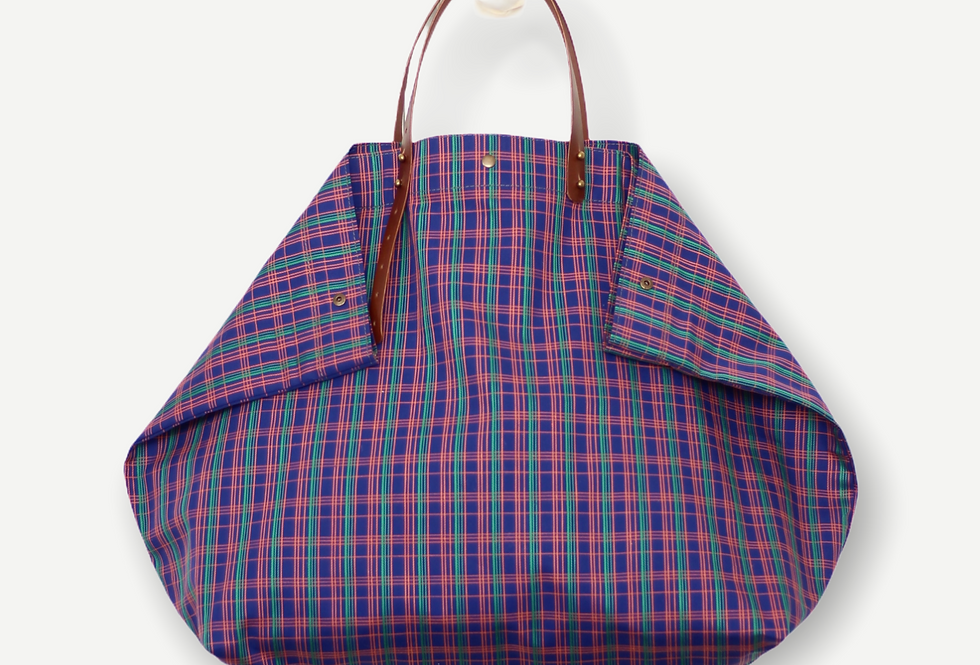 PURPLE AND ELECTRIC STRIPE RECLAIMED CANVAS BEACH BAG