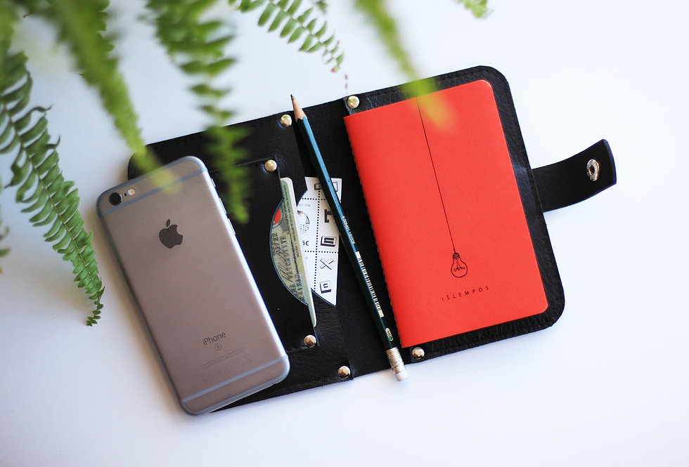 MAPLE NOTEBOOK CASE IN BLACK WITH HANDMADE NOTEBOOK