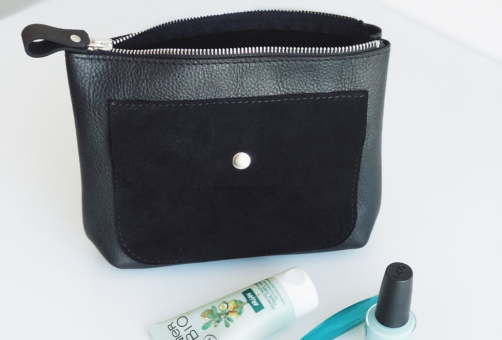 Agnes makeup bag in black leather and suede