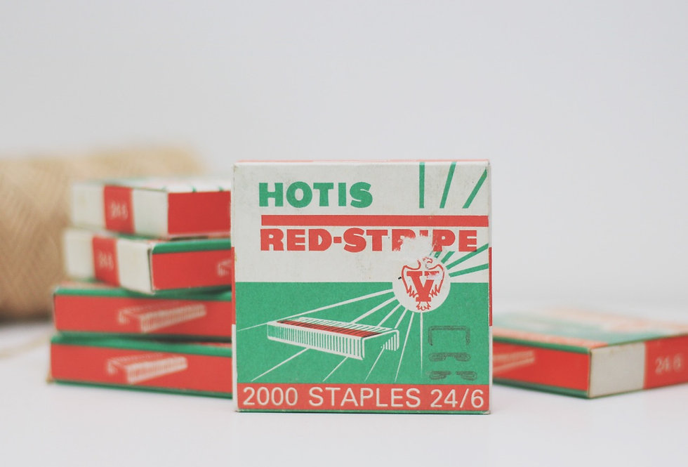 Vintage red stripe copper staples