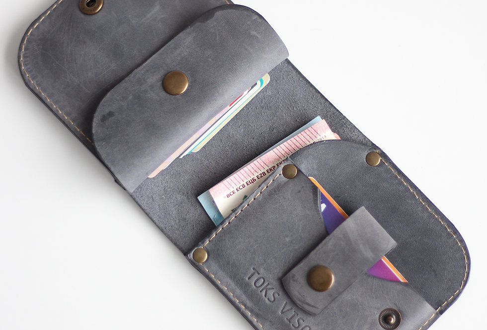 THURSDAY LEATHER WALLET FOR MEN IN GREY