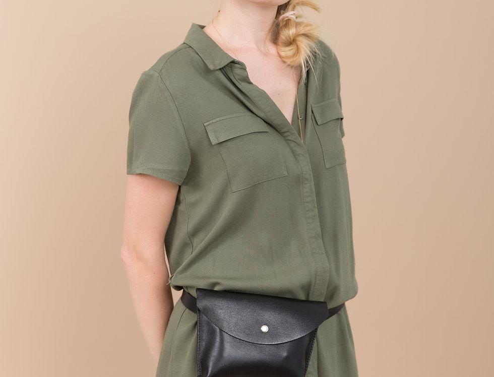 Black leather waist envelope bag