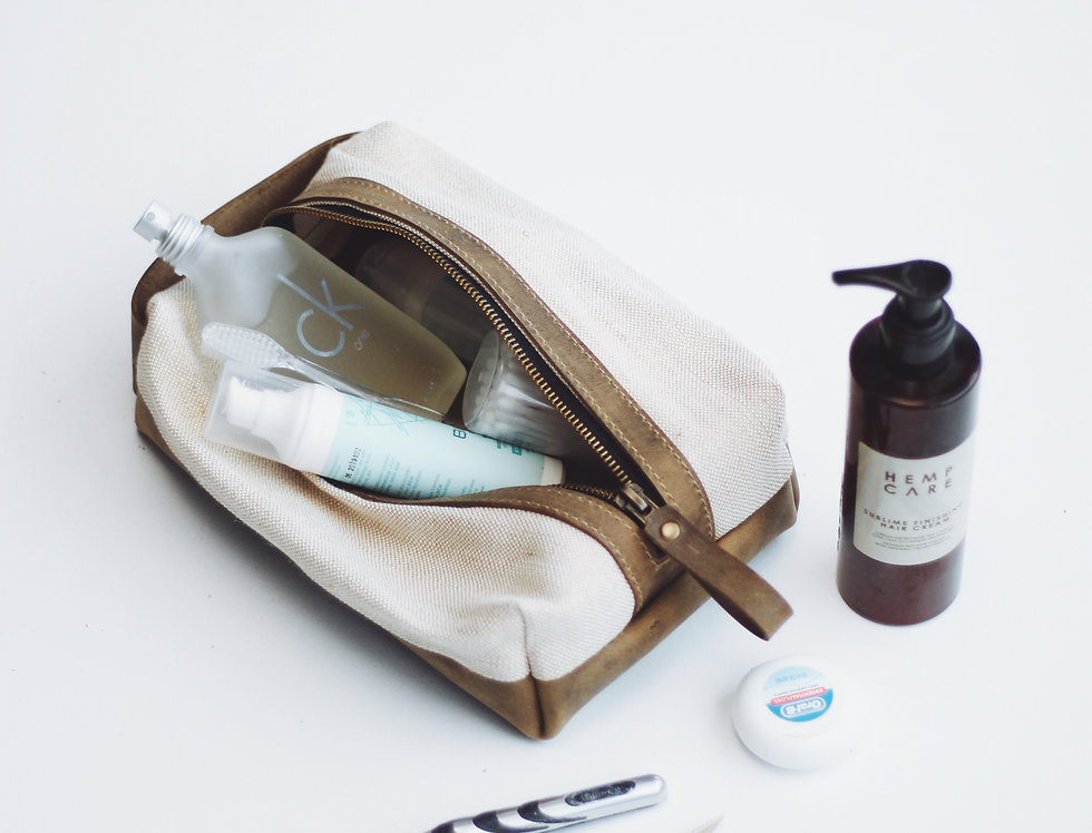 LEON DOPP KIT IN CANVAS AND LEATHER