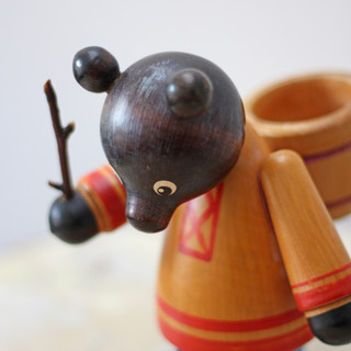 VINTAGE RUSSIAN MASHA AND THE BEAR WOODEN TOY (MASHA MISSING) 1970