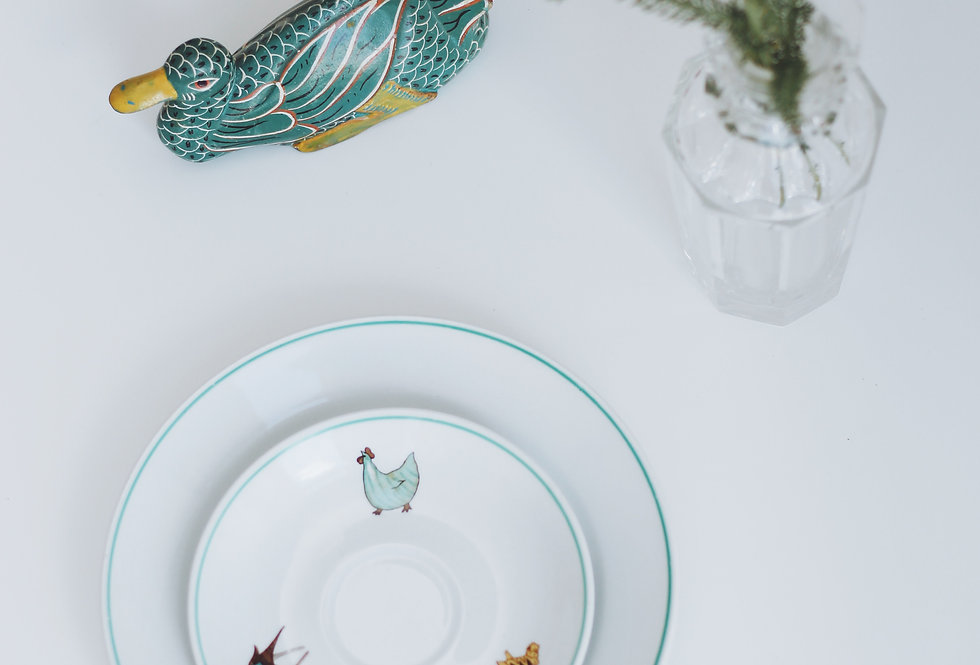 A SET OF KIDS PLATES WITH ANIMAL ILLUSTRATIONS