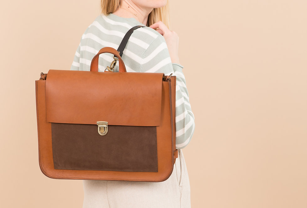 MADISON BACKPACK IN GINGER WITH BROWN SUEDE FRONT POCKET