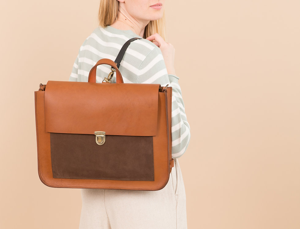 Madison backpack in ginger with brown suede