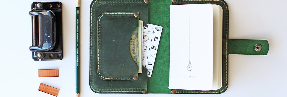 MAPLE NOTEBOOK CASE IN GREEN WITH HANDMADE NOTEBOOK