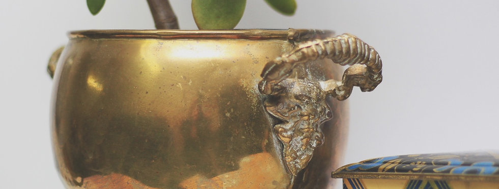Vintage brass plant pot with legs