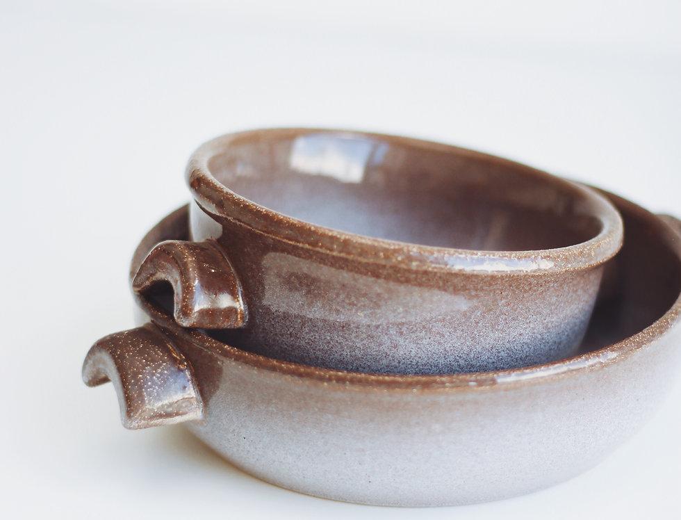 A set of vintage ceramic oven bowls
