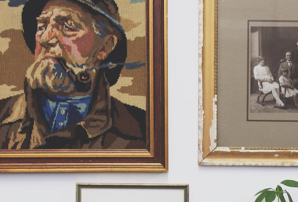 Hemingway embroidered in vintage frame